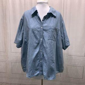 Karen Scott Denim Short Sleeve Shirt 3x